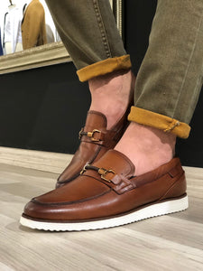 Buckle Detail Calf-Leather Shoes Tan