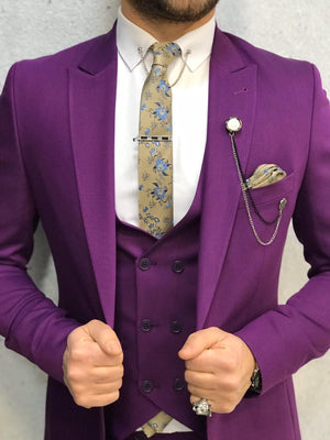 Olympia Purple Slim Fit  Suit