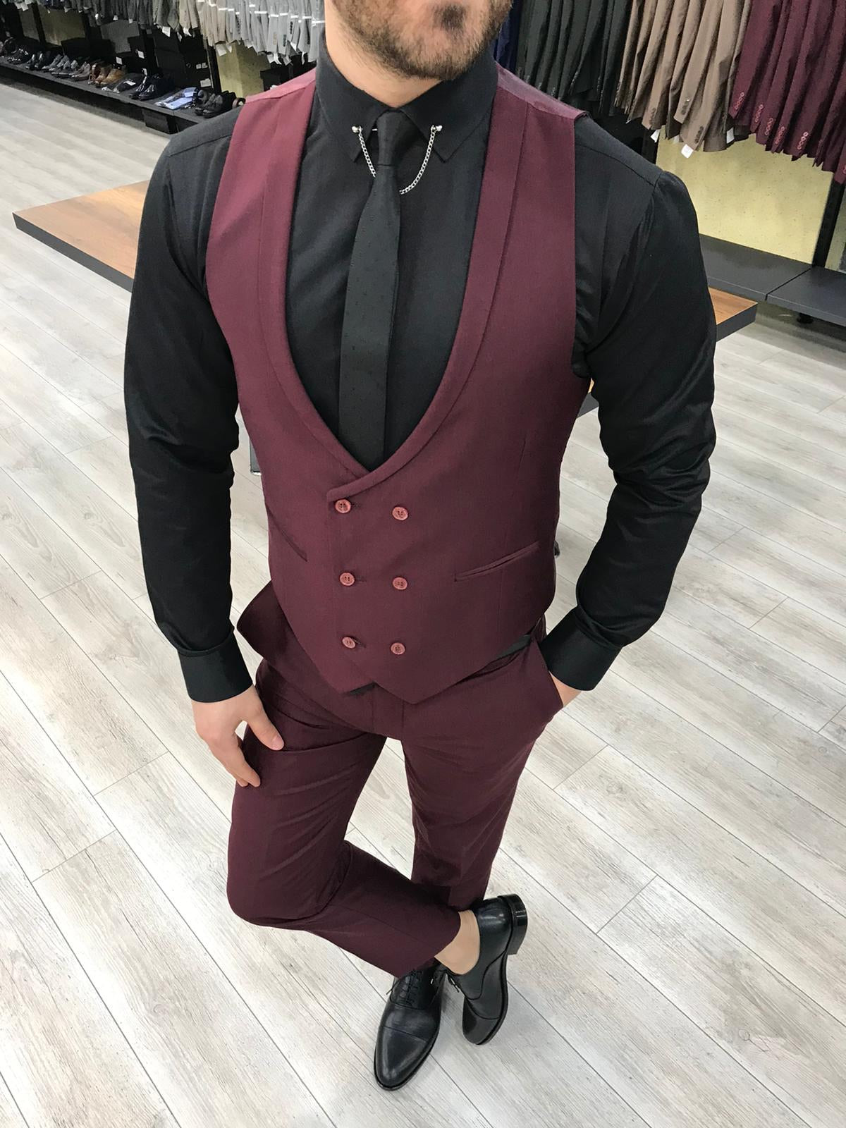 Louis Slim Fit Burgundy  Crystal  Suit