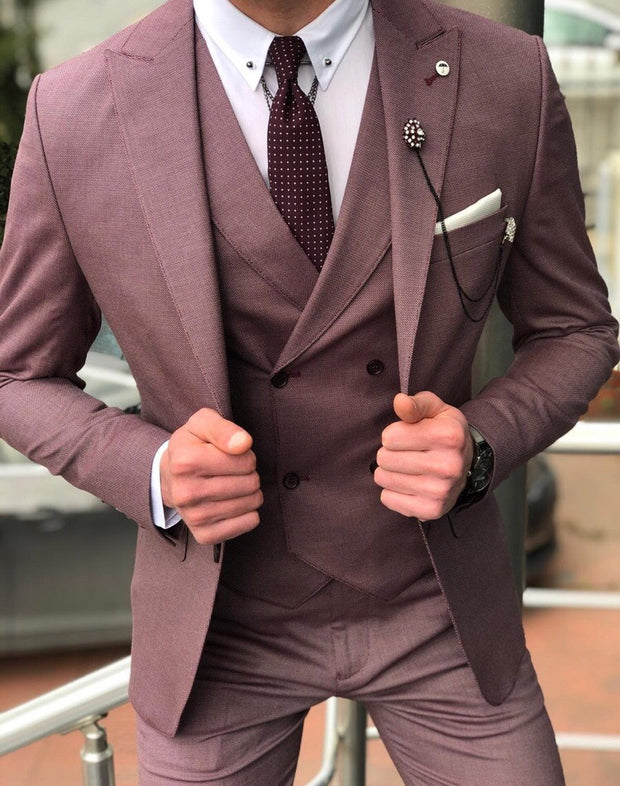 Kingston Claret Red Slim Suit