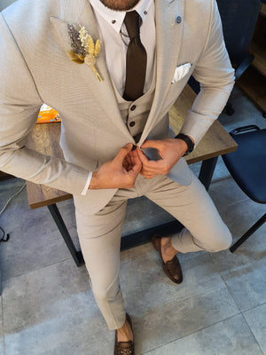 Marc Slim-Fit Suit Vest Beige