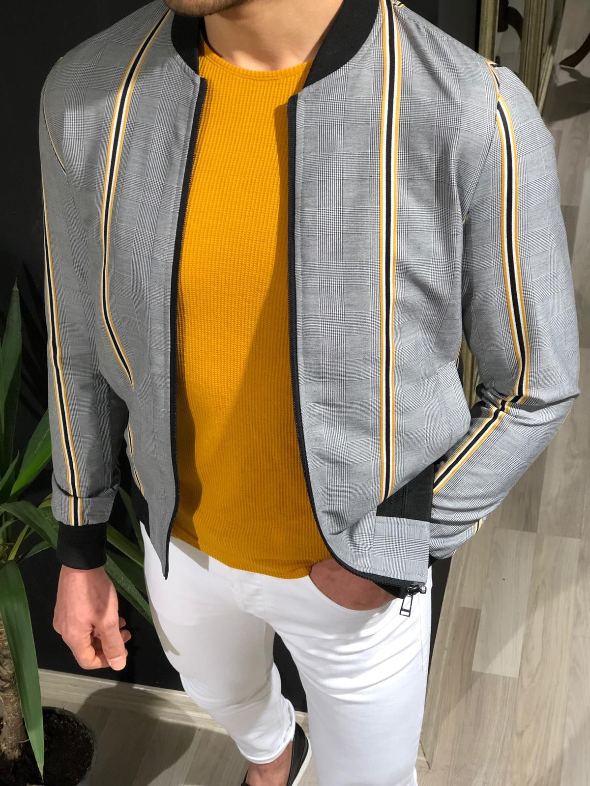 Faha Slim-Fit Colored Striped Jacket in Yellow