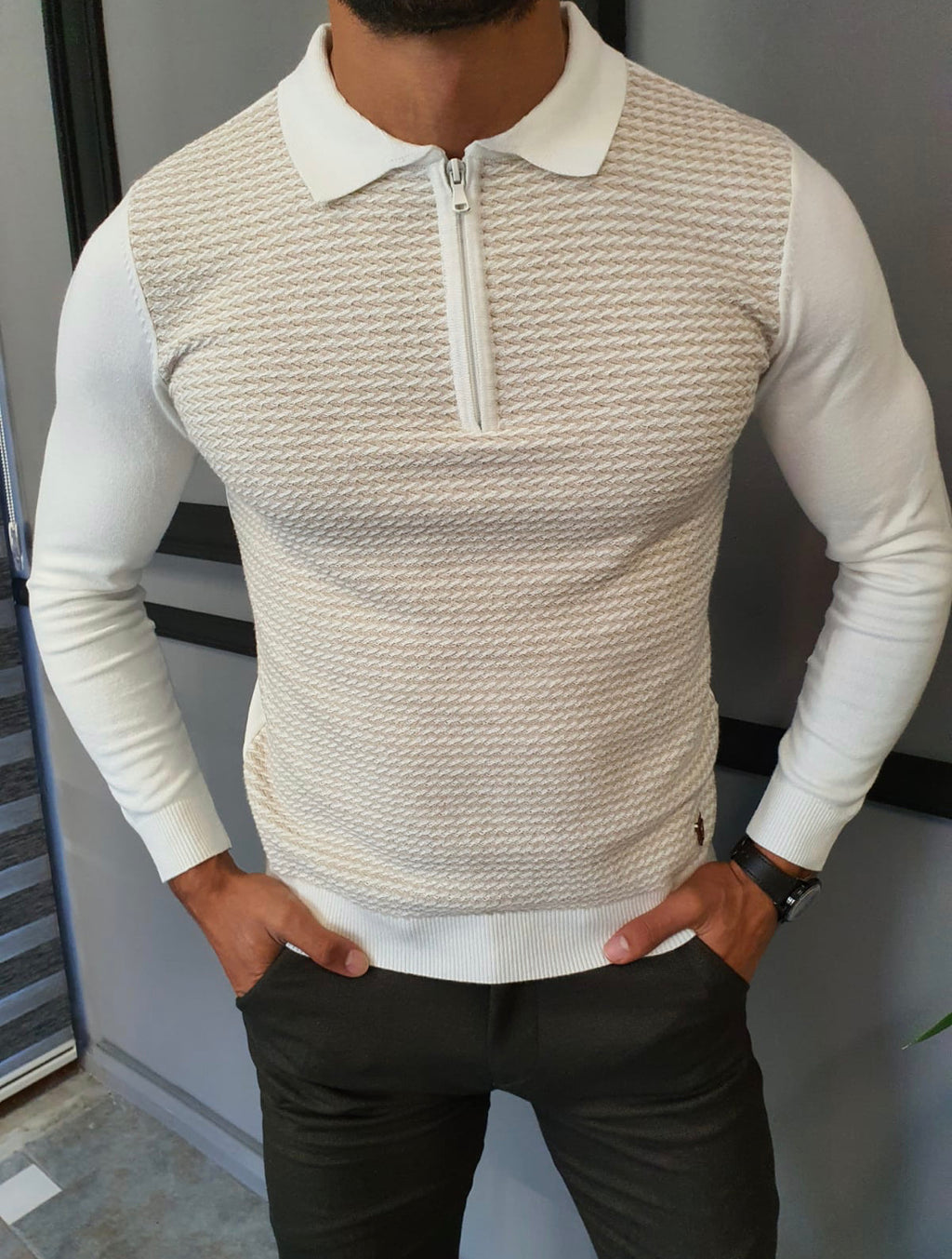 Turino Beige Slim Fit Zipper Collar Sweater