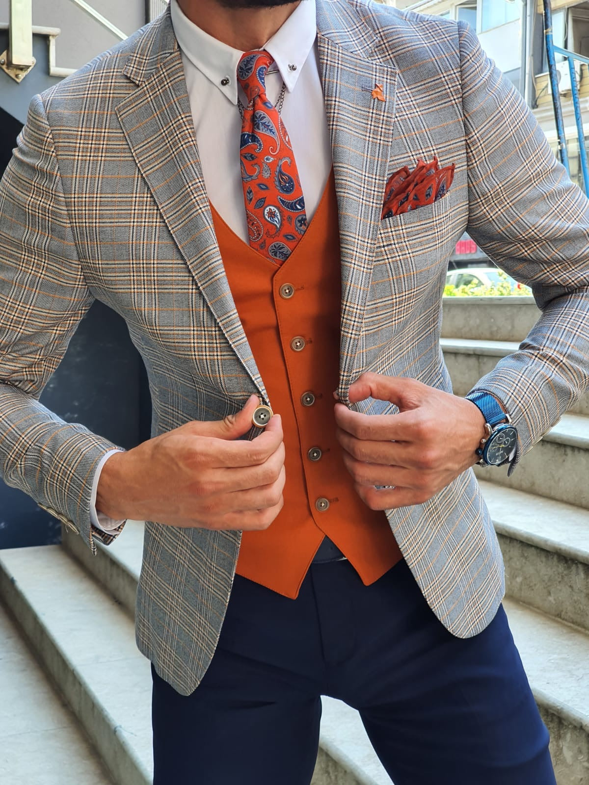 Abeston Orange Slim Fit Plaid Check Suit