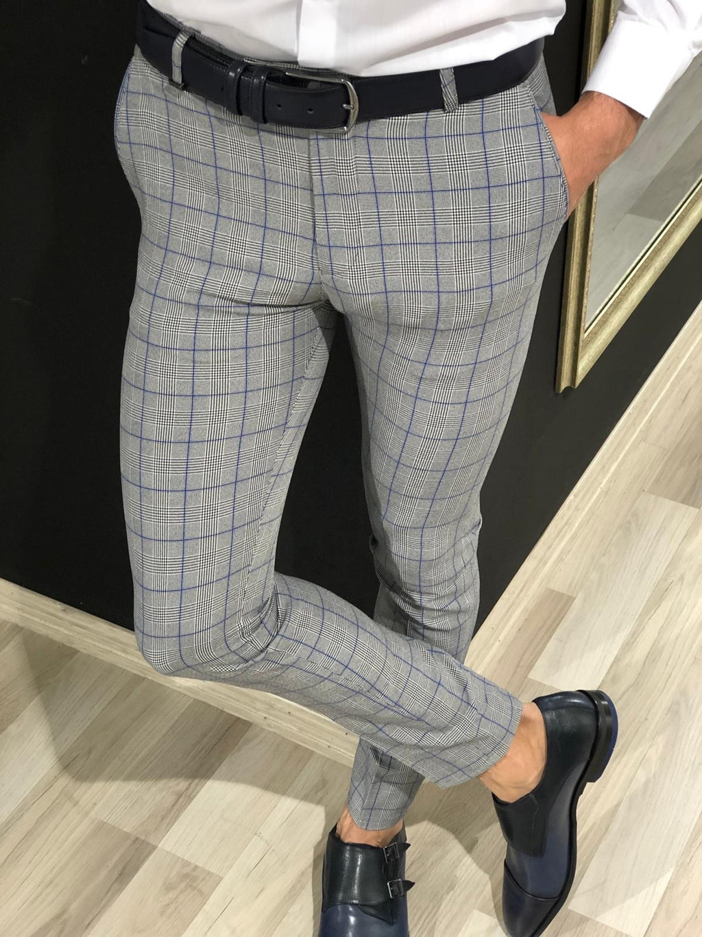 Ferra Slim Fit Plaid Pants in Blue
