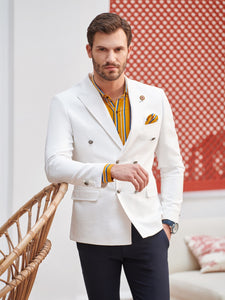 Slim-Fit Double Breasted Blazer White