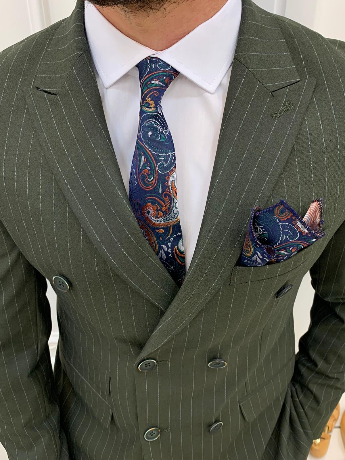 Furino Khaki Slim Fit Double Breasted Pinstripe Suit