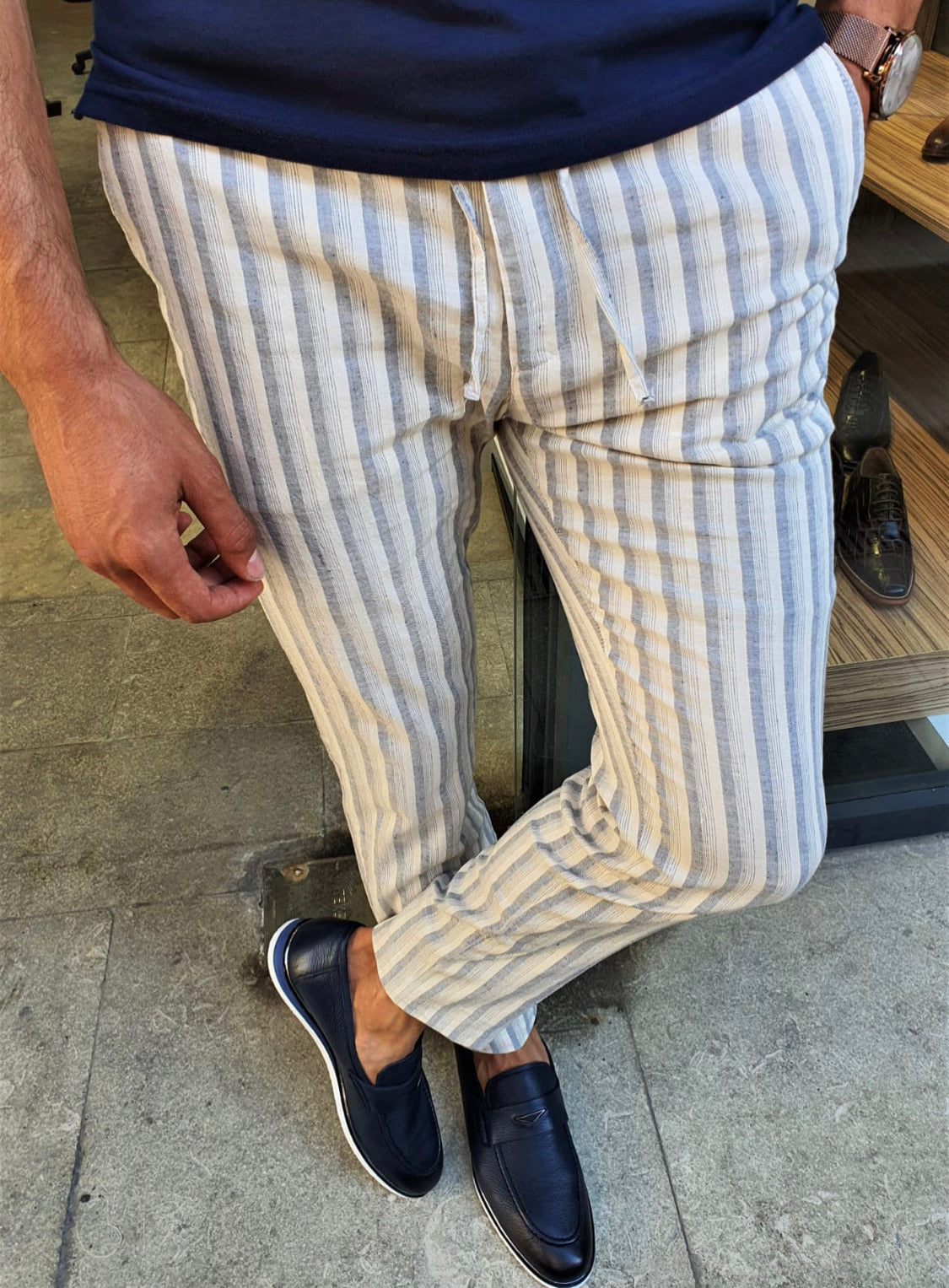 Newark Navy Blue Slim Fit Laced Striped Linen Pants