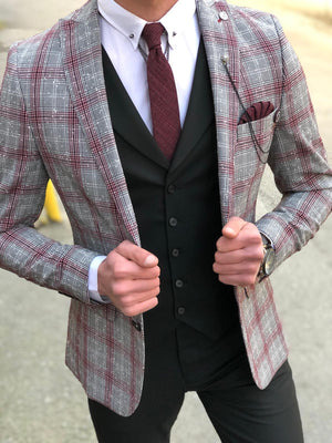 Slim-Fit Plaid  Suit Vest Black