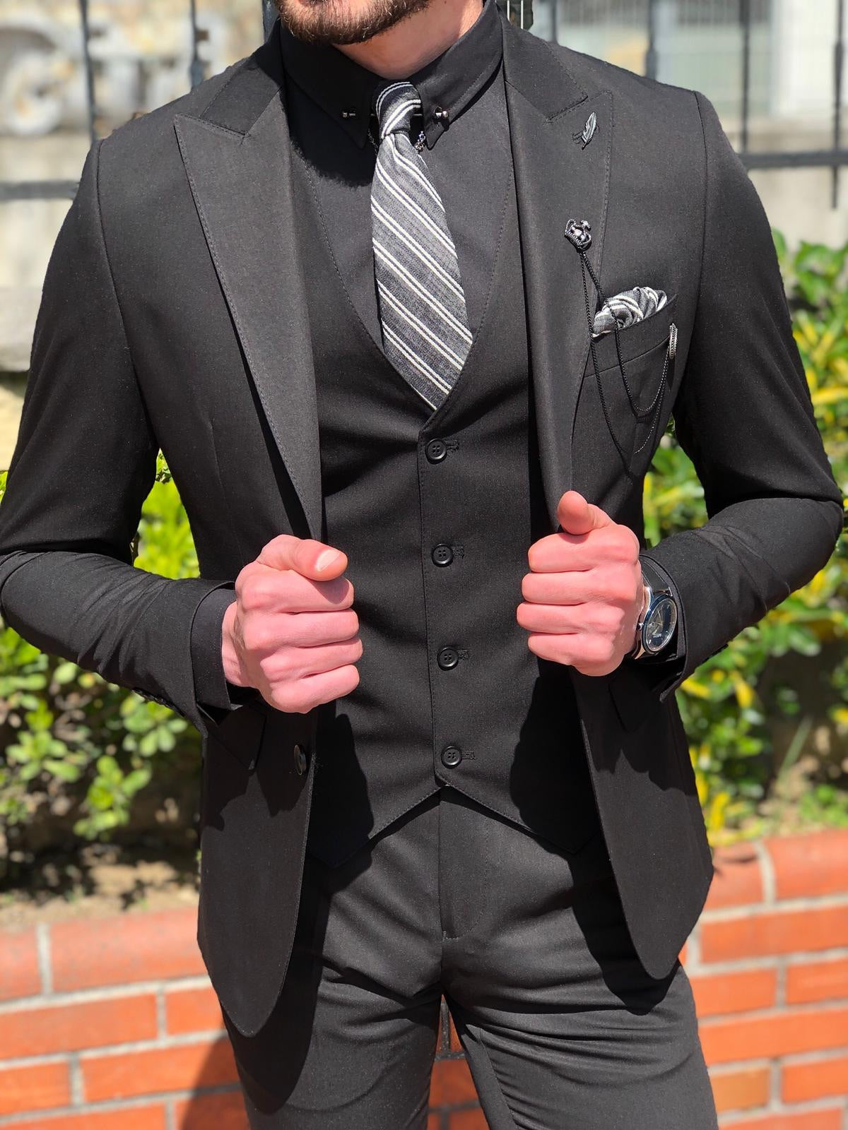 Bond Slim-Fit Suit Vest Black