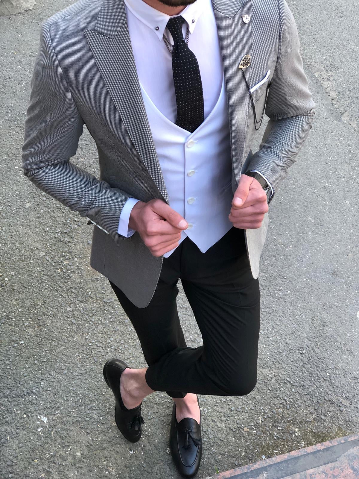 Slim-Fit  Suit Vest Gray