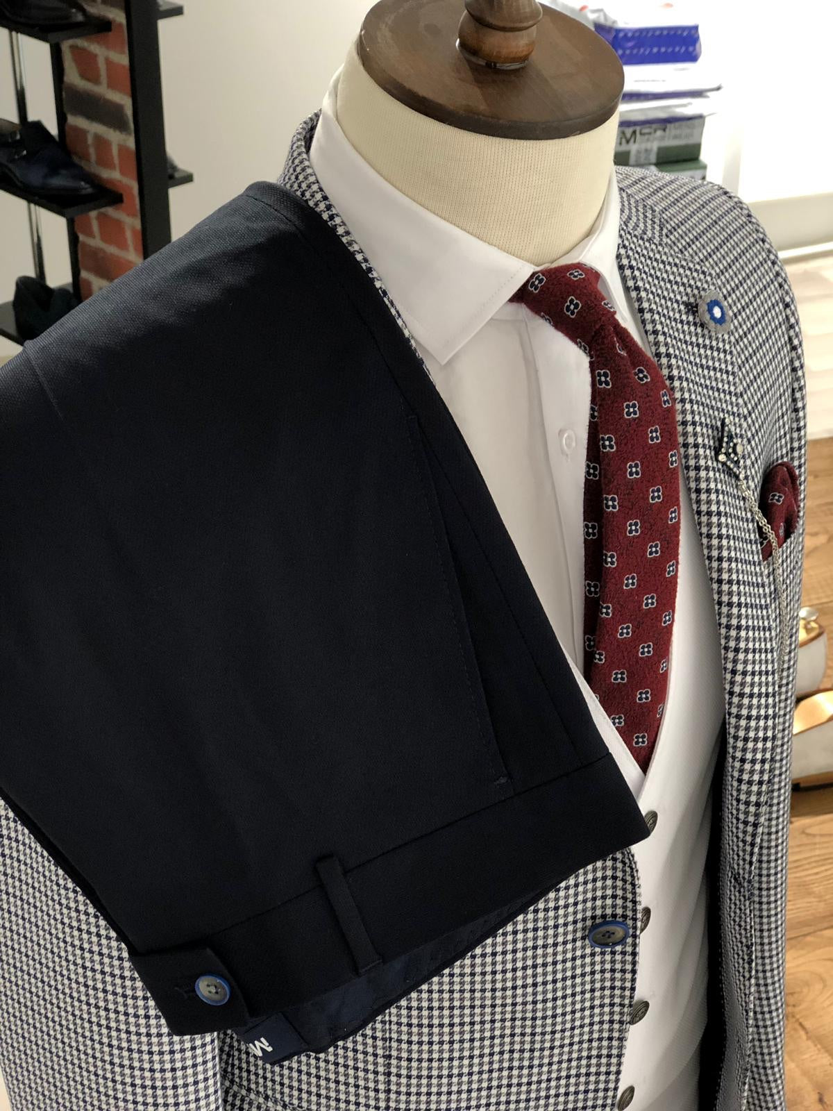 Slim-Fit Plaid Suit Vest Navy