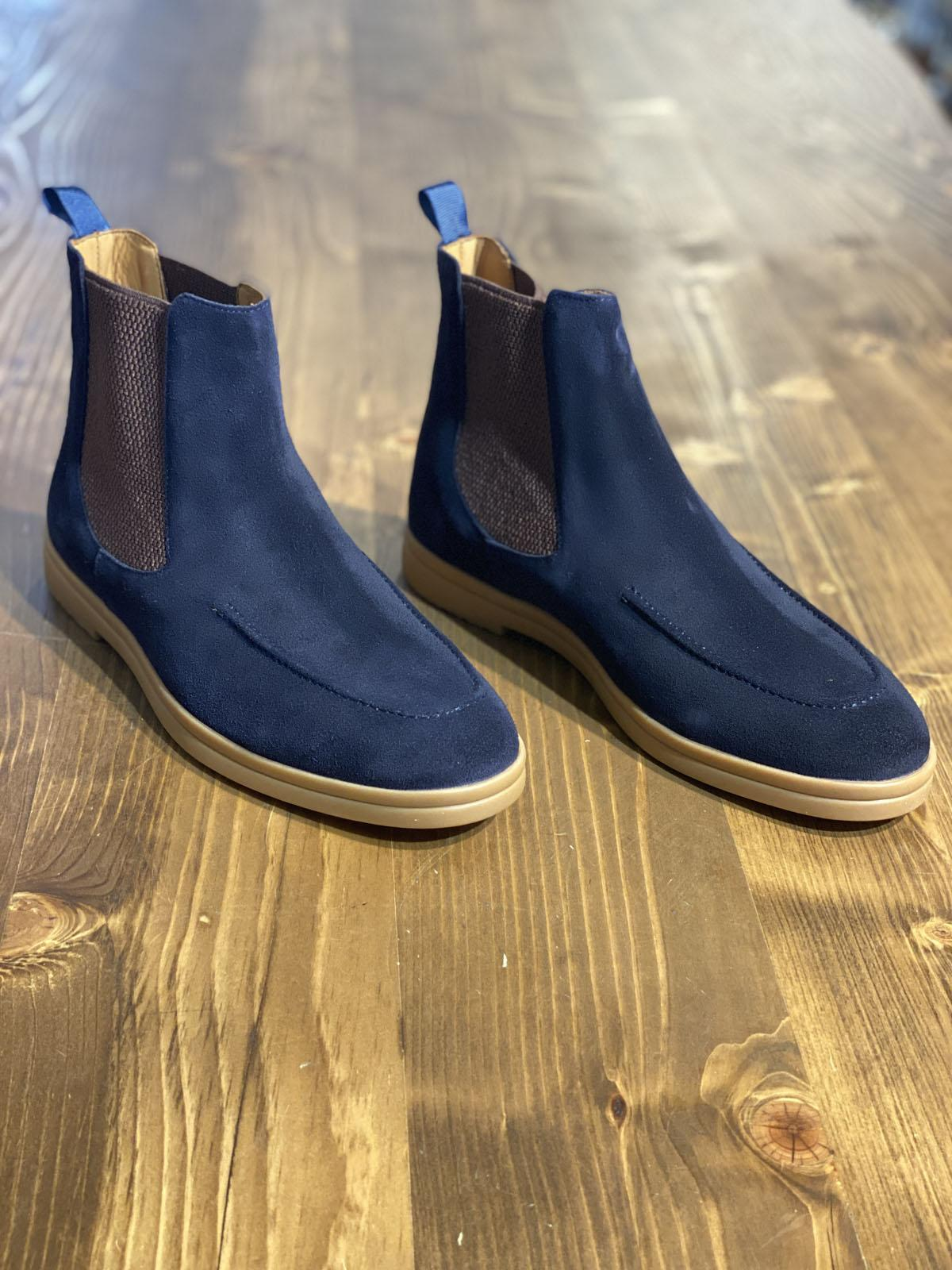 Vicenza Calf Leather Boots Navy Blue