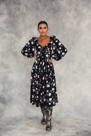Floral Puff Sleeve Midi Dress
