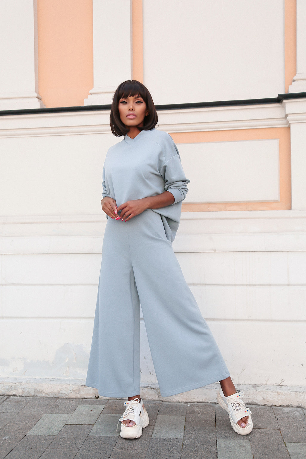 Cotton Suit With Culottes