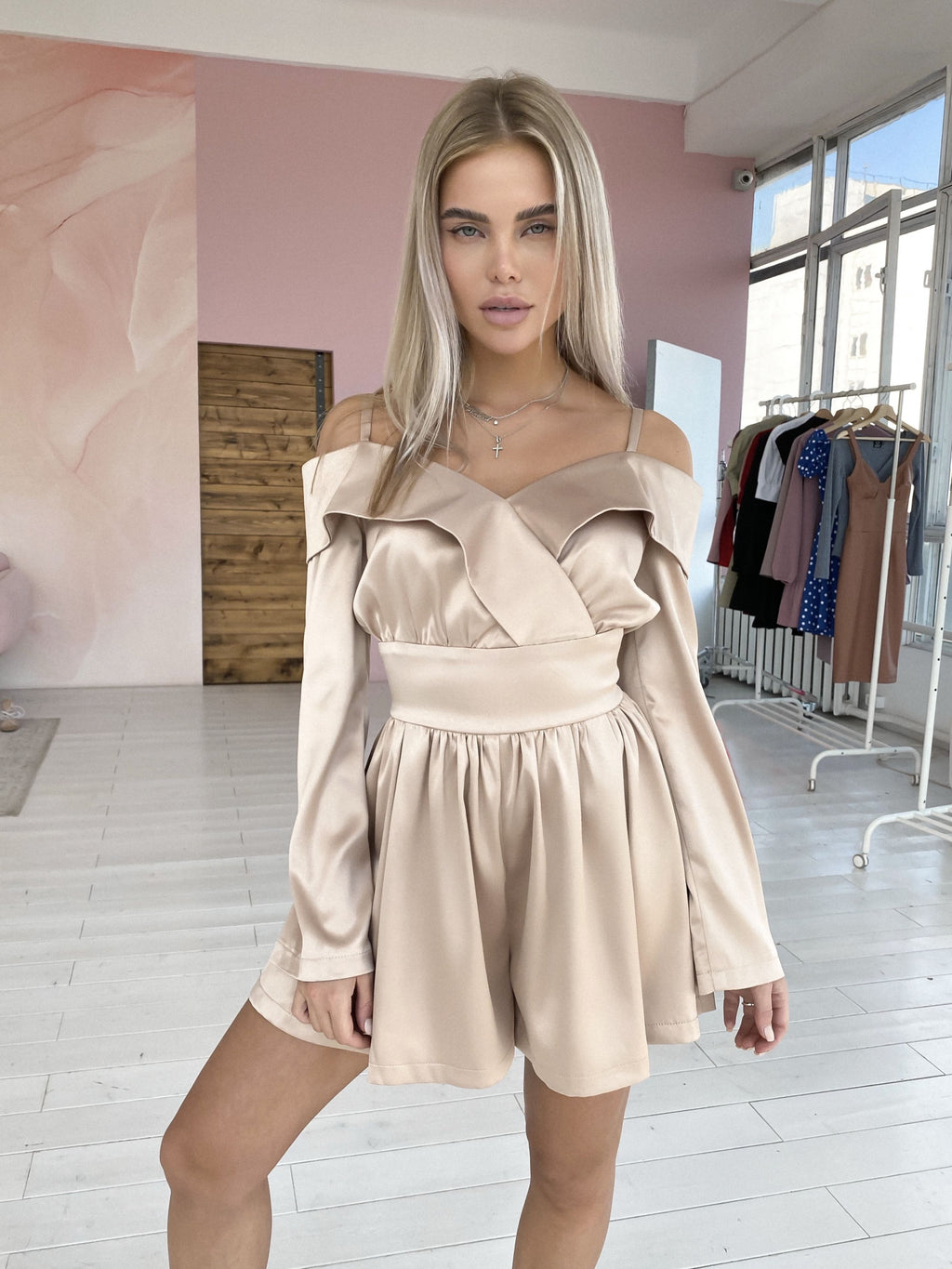 Thin Straps Satin Playsuit - Peach