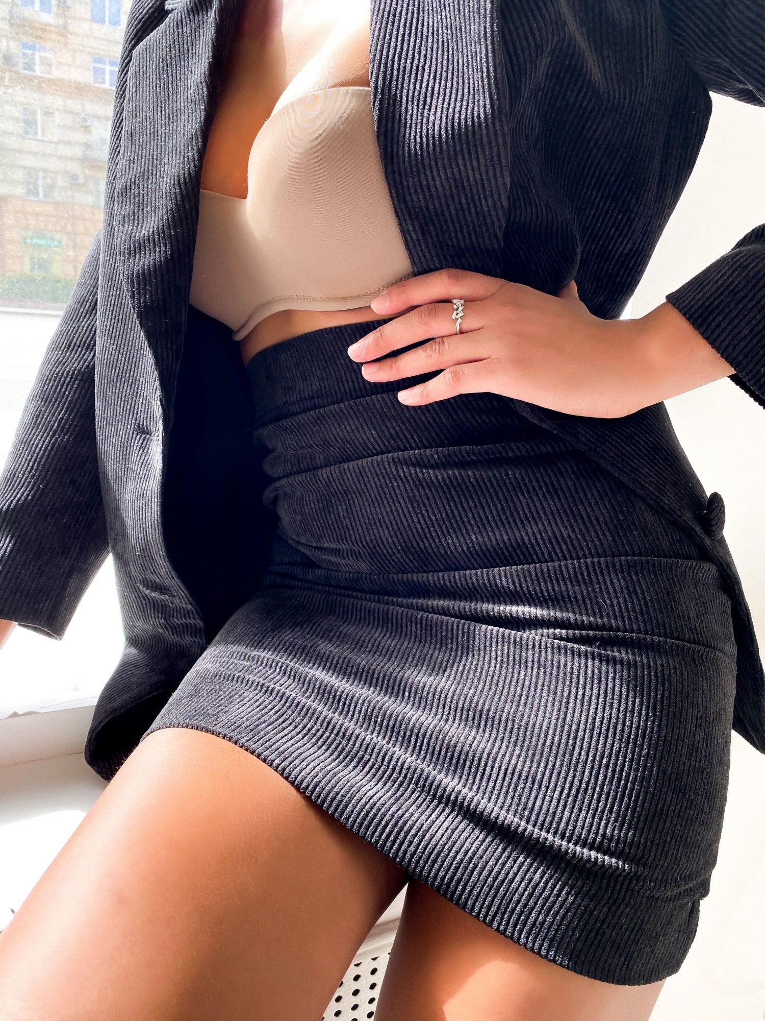 Suit Set with Jacket and Skirt
