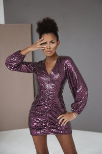 Dress with Drapery and Sequins