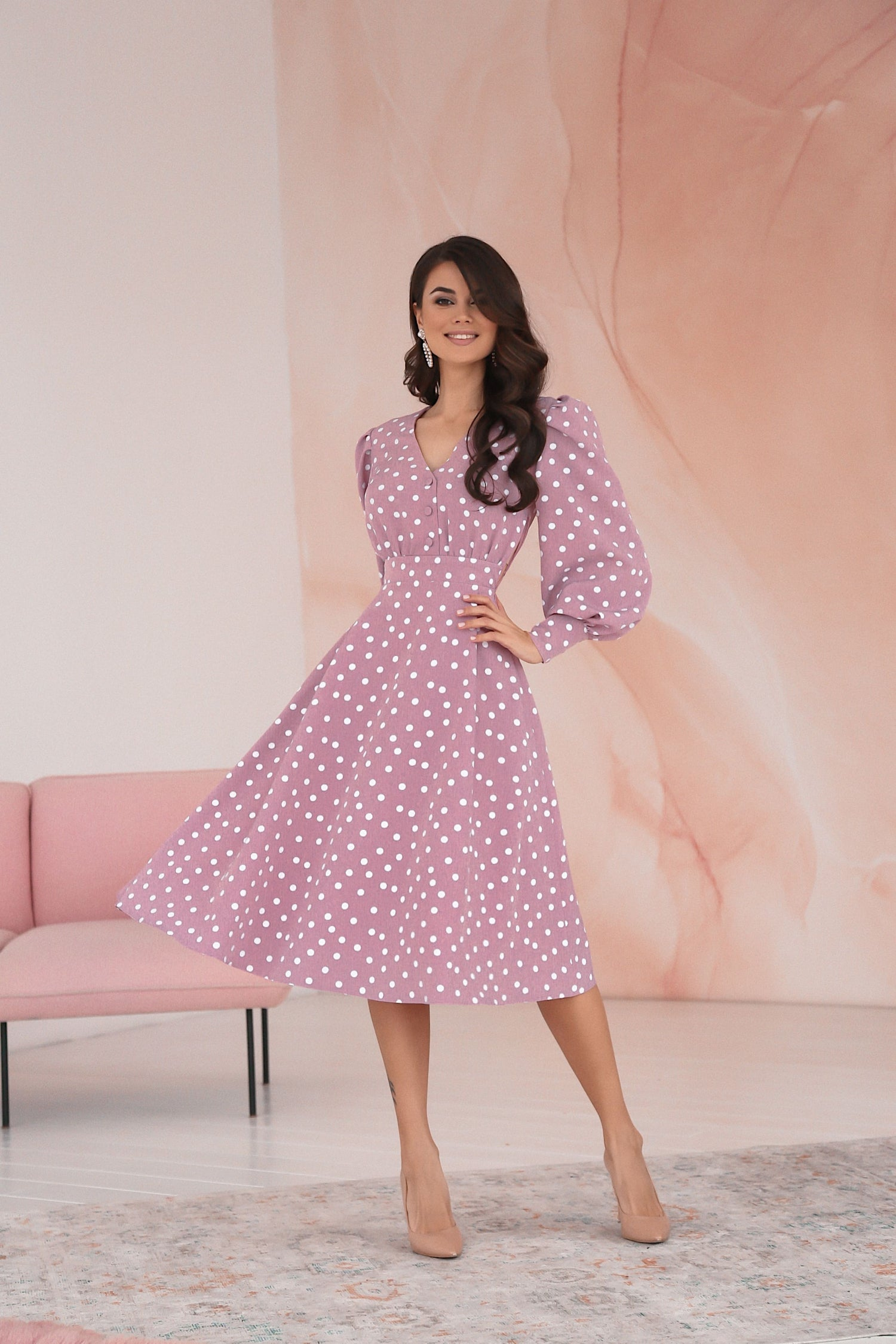 Polka Dot Midi Dress with Puffy Sleeves