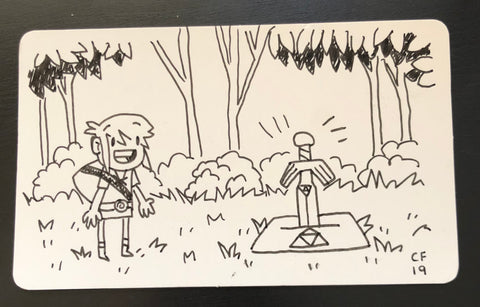 Sketch card - Link in the woods