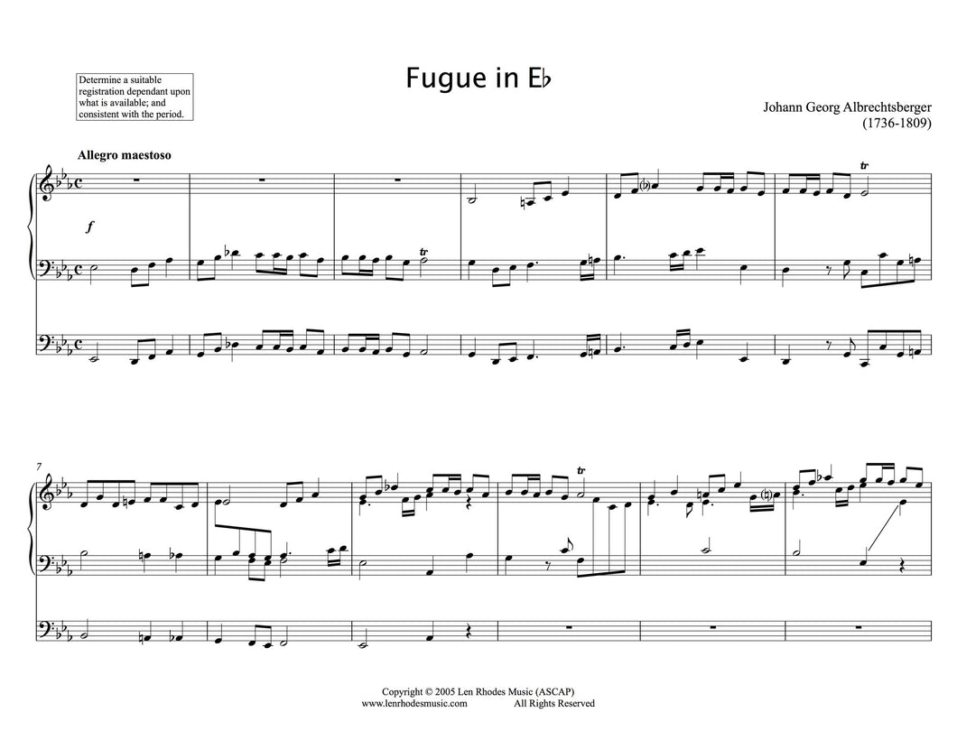 Albrechtsberger - Fugue in Eb, Organ solo