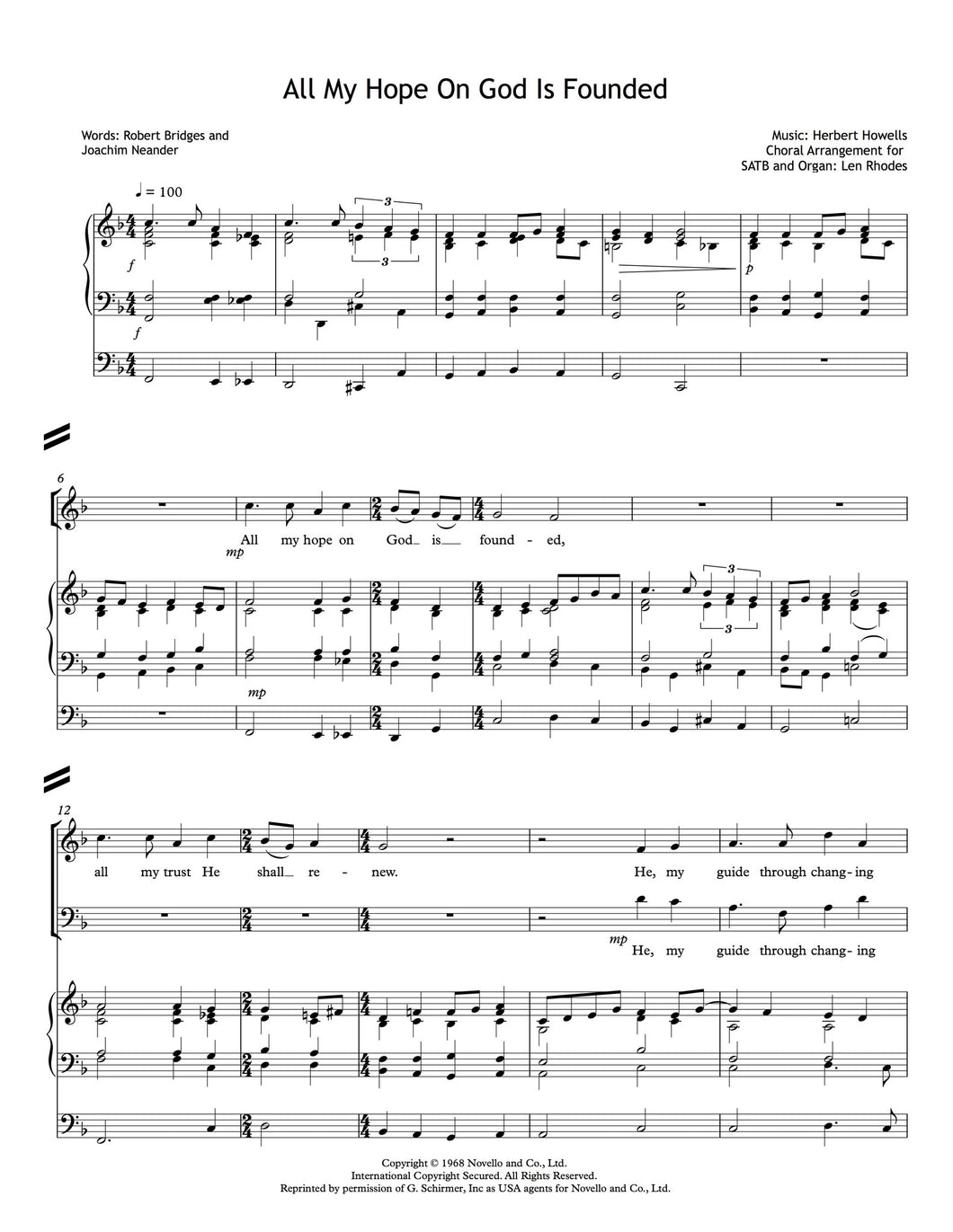 Howells - All My Hope On God Is Founded, for SATB and Organ
