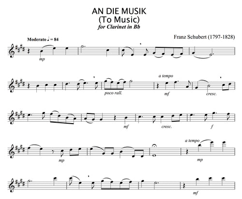 Schubert - An Die Musik (to Music), for solo Clarinet in B flat.