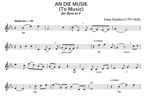 Schubert - An Die Musik for solo (unaccompanied) French Horn.
