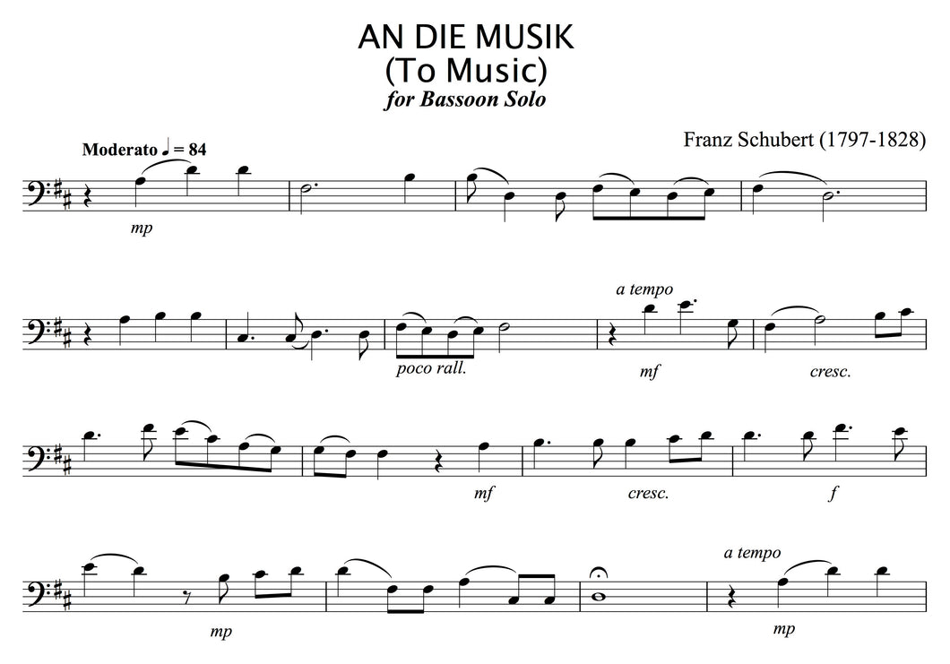 Schubert - An Die Musik (to Music), for solo (unaccompanied) Bassoon