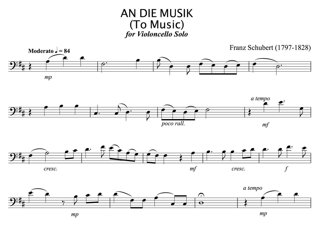 Schubert - An Die Musik, for solo (unaccompanied) 'Cello