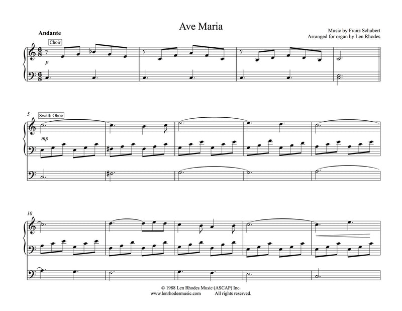 Piano ave maria sheet music piano : Ave Maria - Franz Schubert, easy Organ solo – Len Rhodes Music Inc.