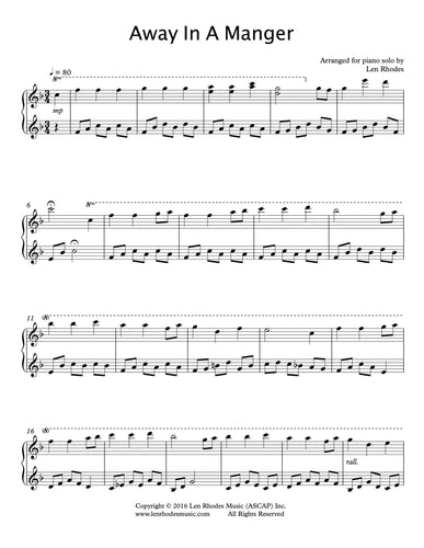 Away In a Manger - a contemporary arrangement for piano solo