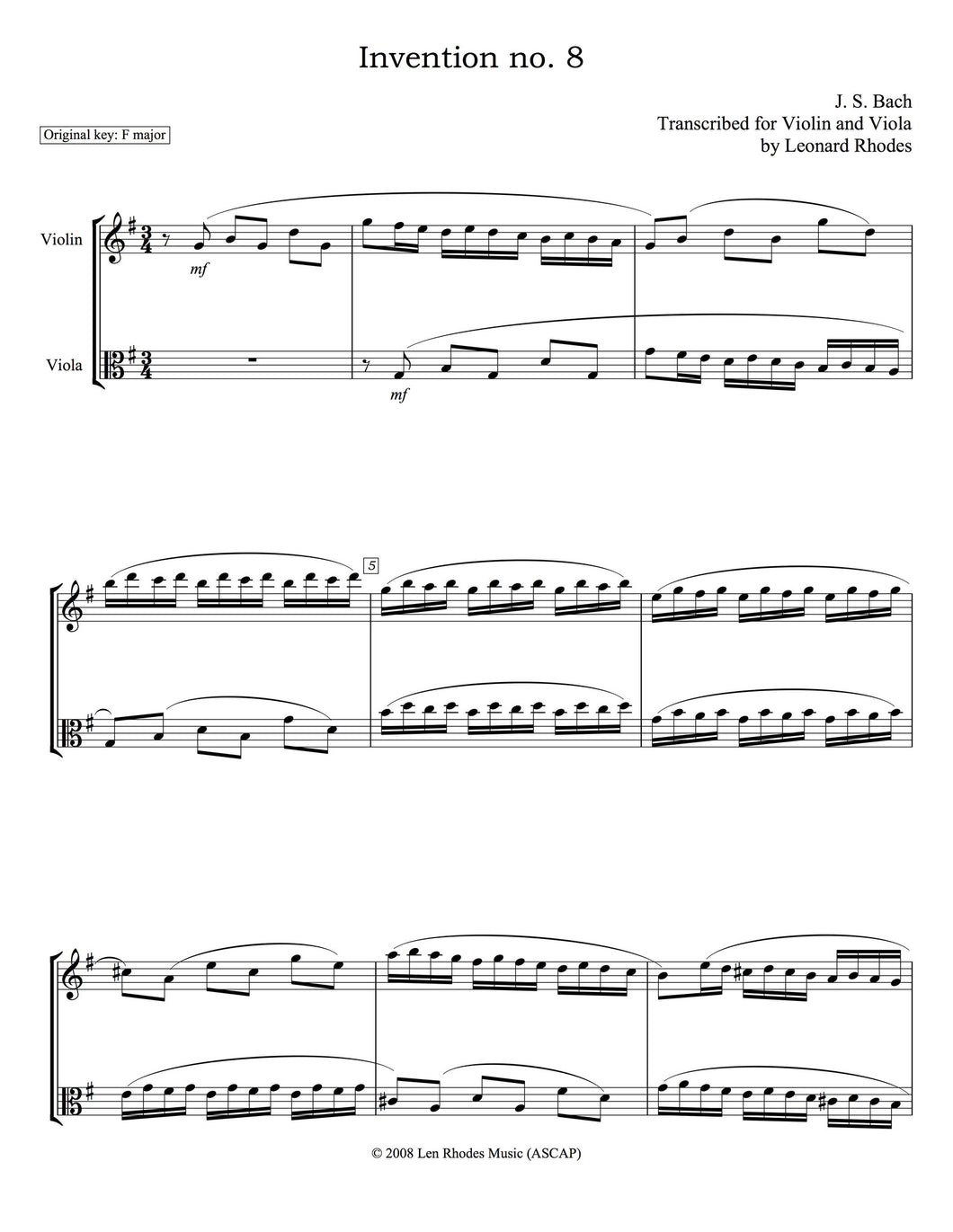 Bach - Two-part Invention No. 8, transcribed for Violin and Viola