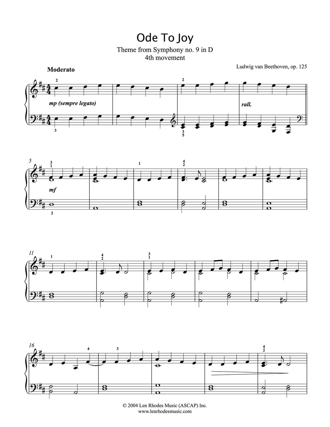 Ode to Joy, easy piano solo