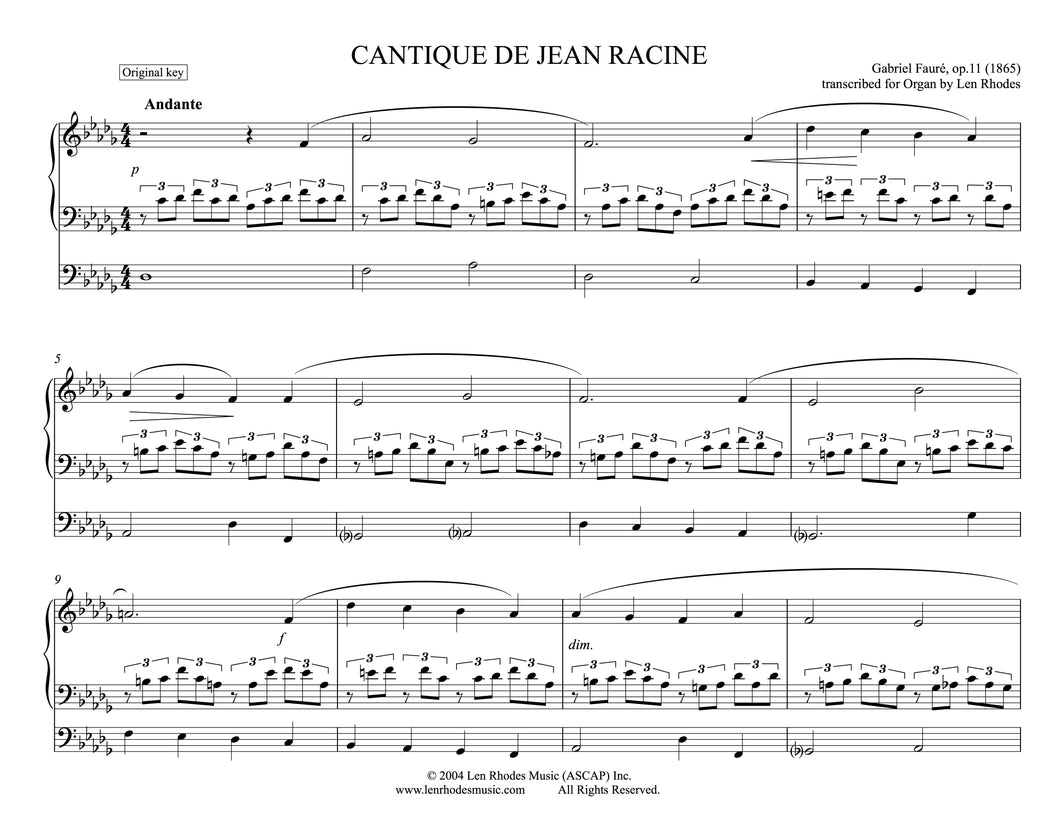 Gabriel Fauré - Cantique de Jean Racine, op. 11 - in Db; for Organ Solo