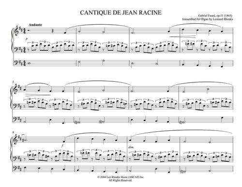 Fauré - Cantique de Jean Racine op. 11 in D arranged for Organ solo