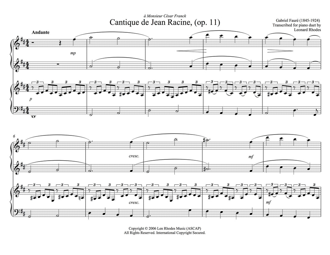 Fauré - Cantique de Jean Racine, op. 11 arranged for Piano Duet