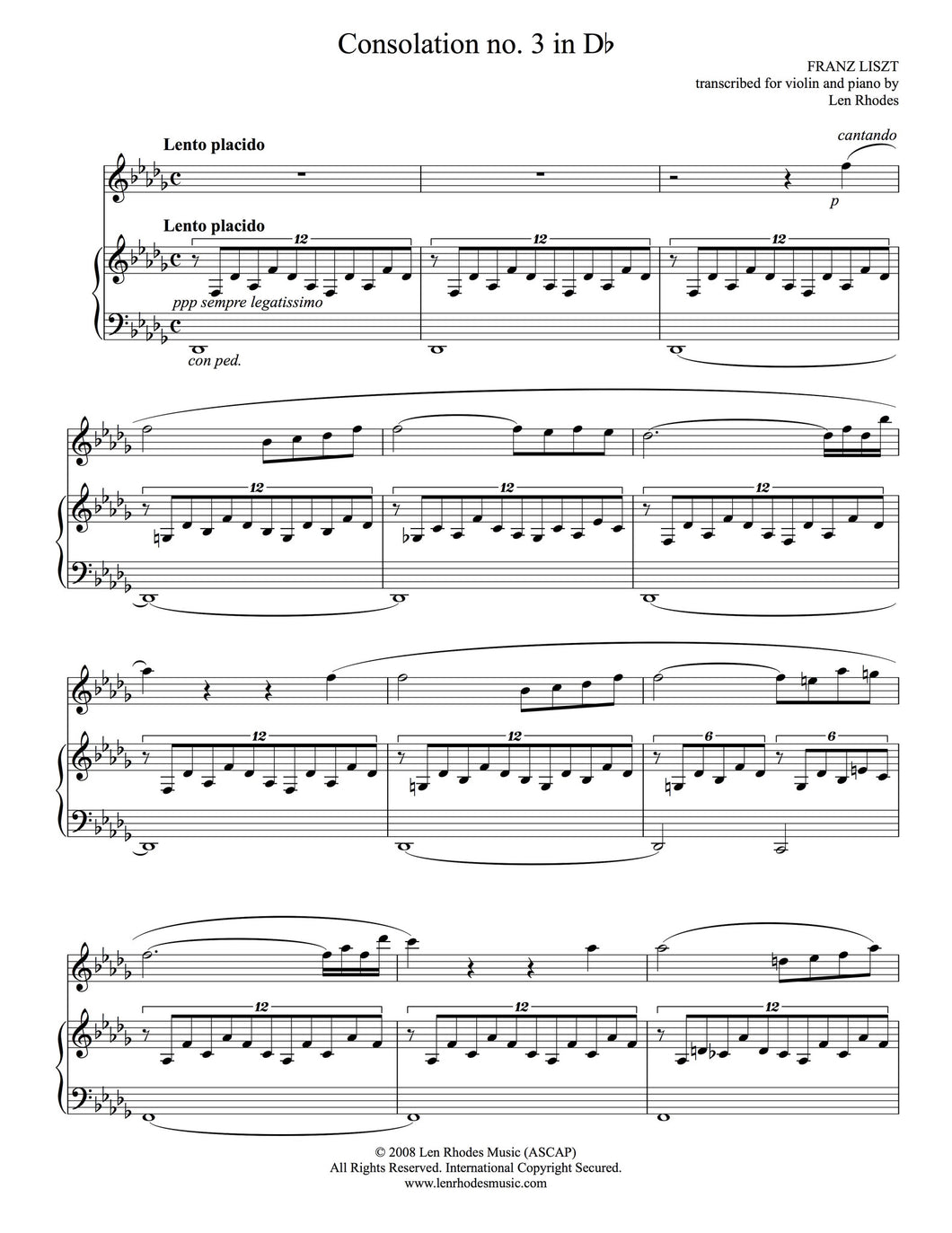 Liszt - Consolation in D flat, arranged for Violin and Piano