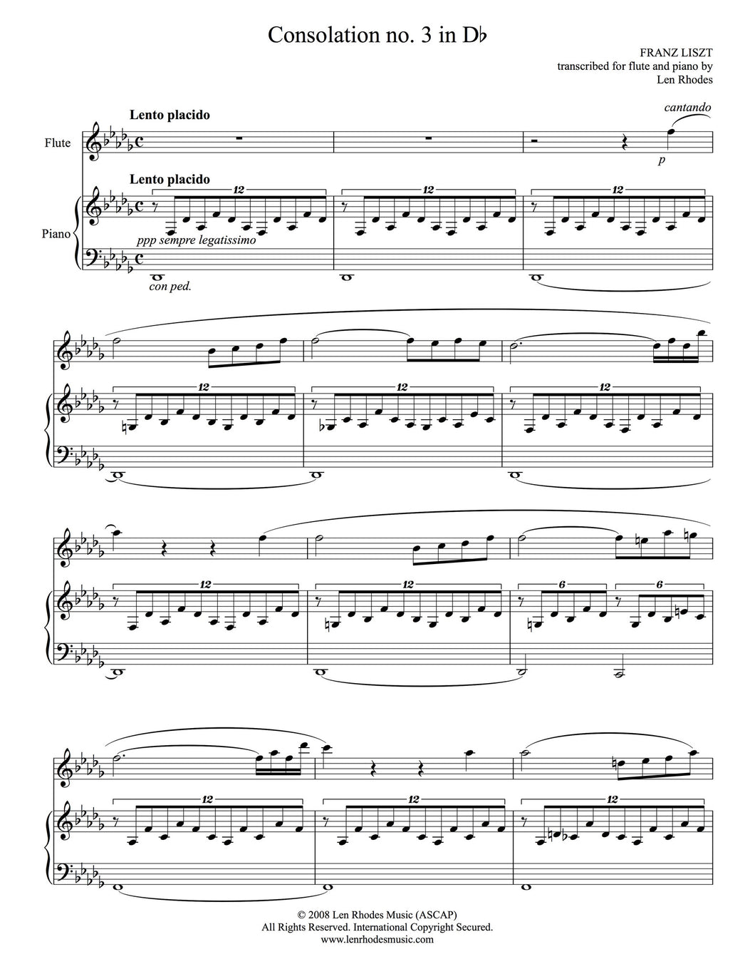 Liszt - Consolation in D flat, arranged for Flute and Piano
