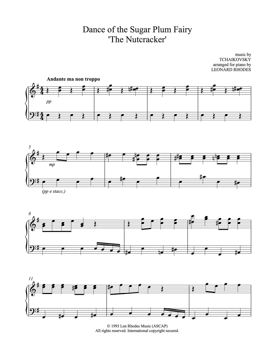 Tchaikovsky - Dance of the Sugar Plum Fairy from The Nutcracker, easy piano solo