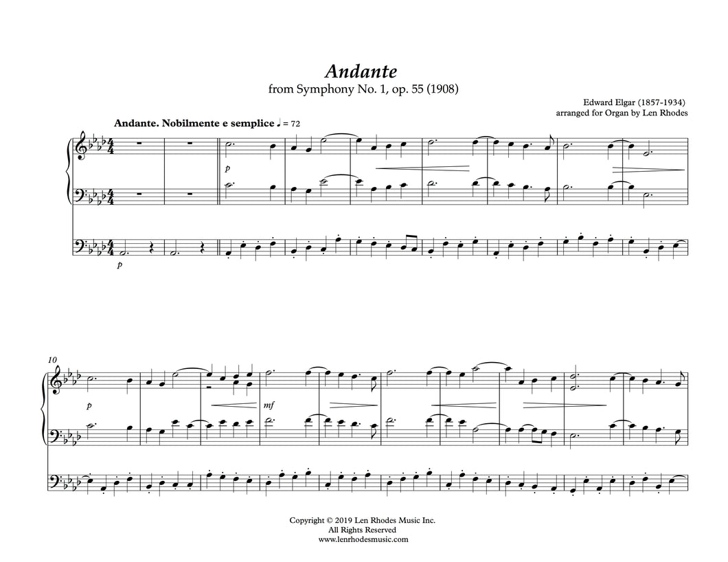 Edward Elgar - Andante from Symphony no. 1 in Ab, op.55 - arranged for Organ solo