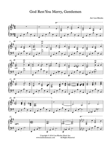 God Rest Ye Merry, Gentlemen - arranged for contemporary piano solo