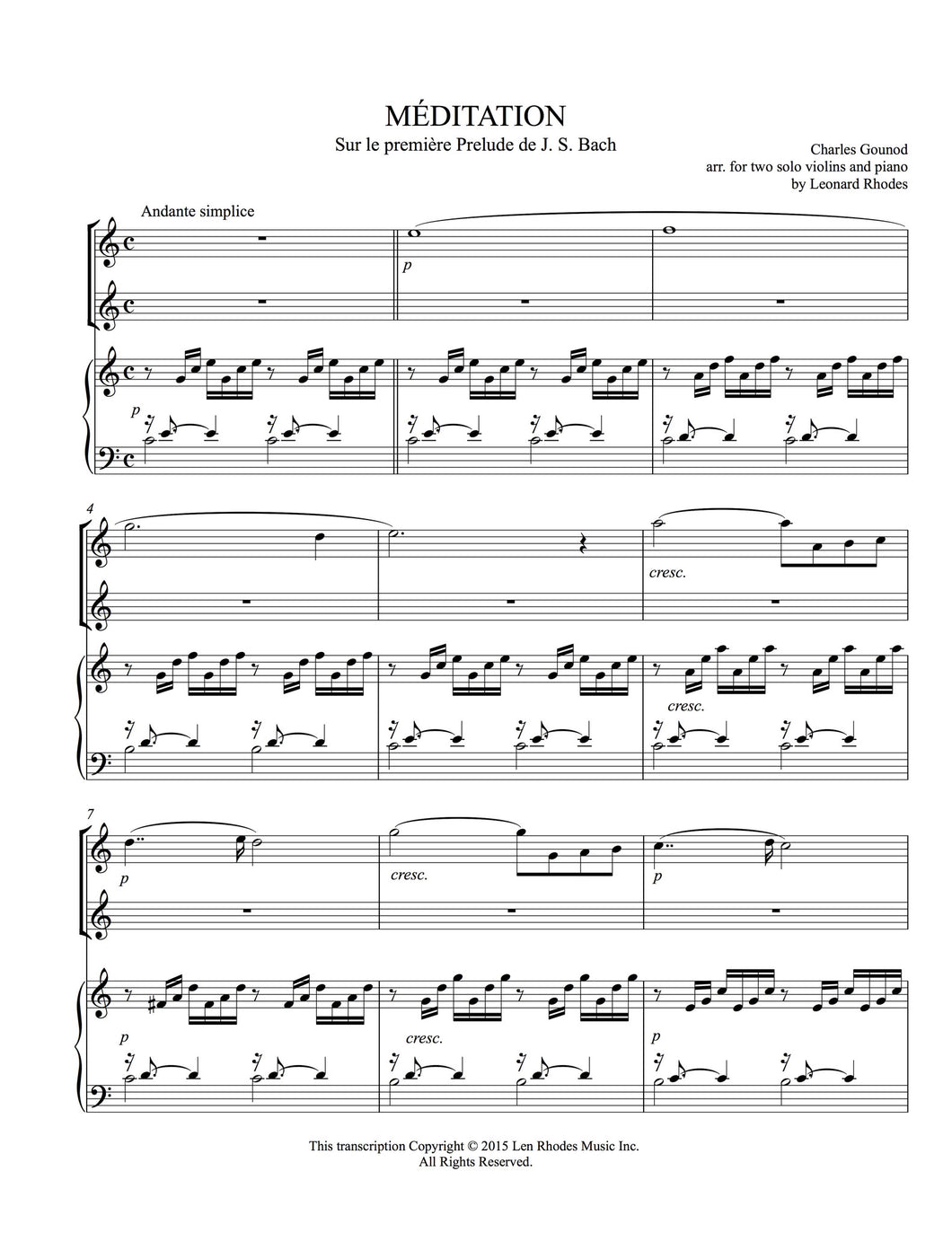 Ave Maria - Gounod/Bach, arranged for Two Violins and Piano