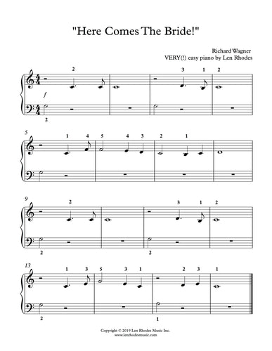 Wagner - Here Comes The Bride! Very easy piano solo.