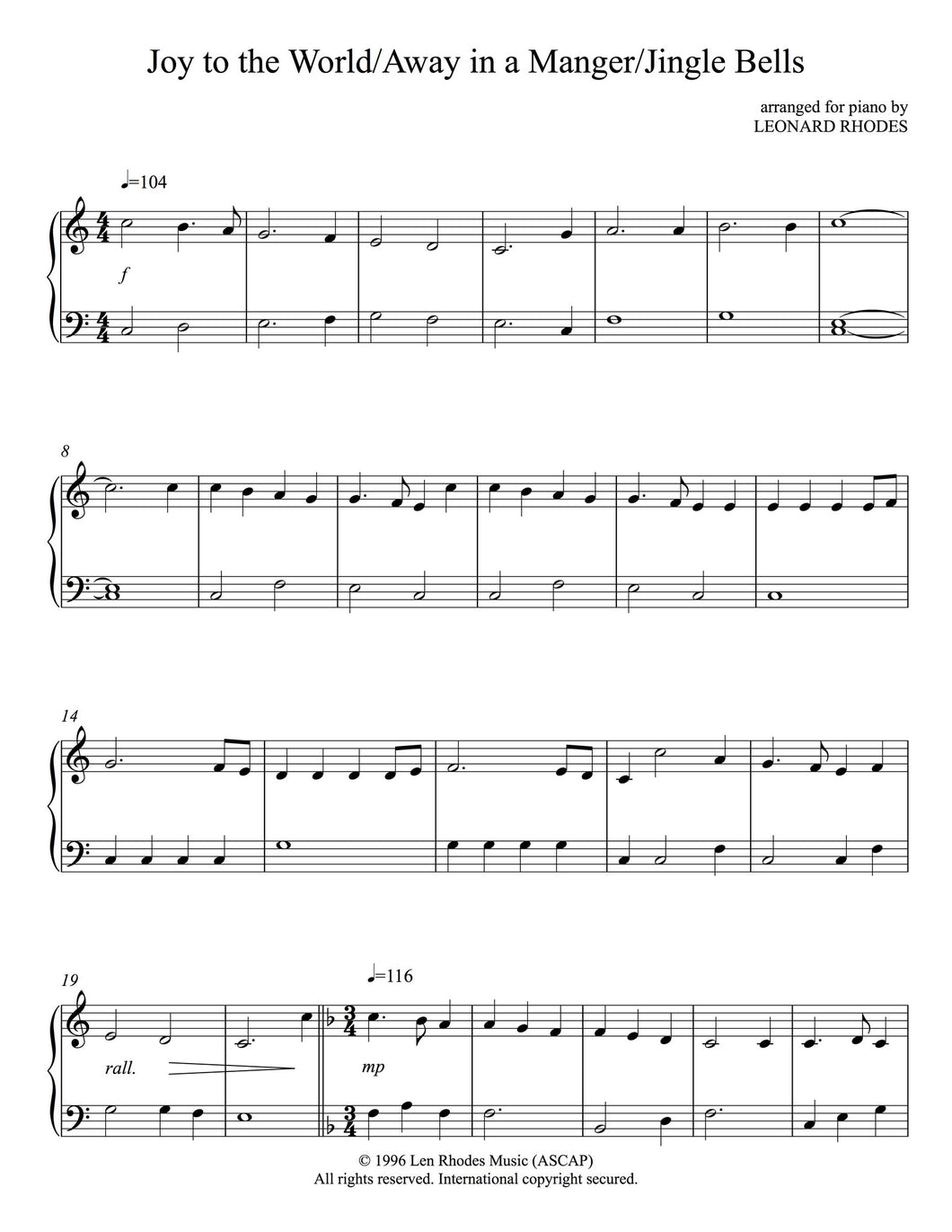 Medley of Christmas Carols - Joy to the World/Away in a Manger/Jingle Bells, arranged for Easy Piano