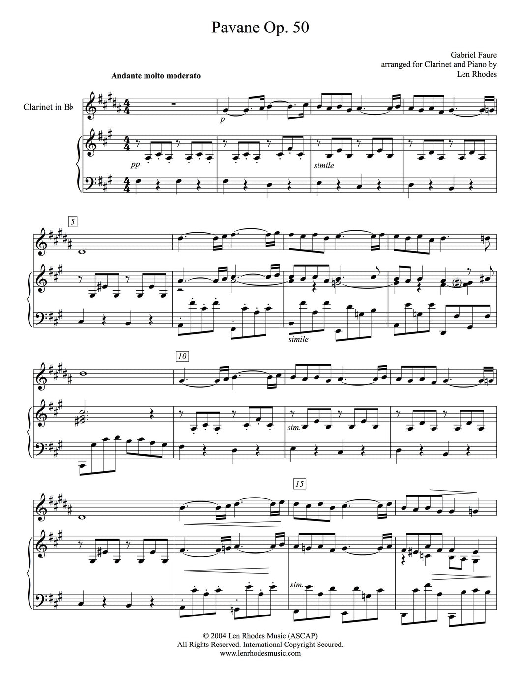 Fauré - Pavane, arranged for Clarinet and Piano
