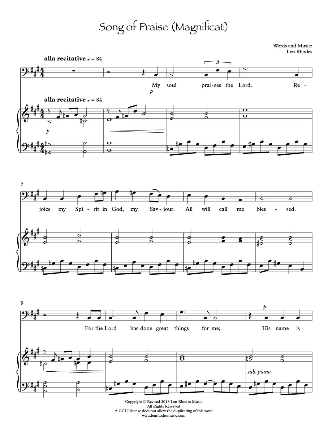 Song of Praise (Magnificat) - for Bass solo and Piano