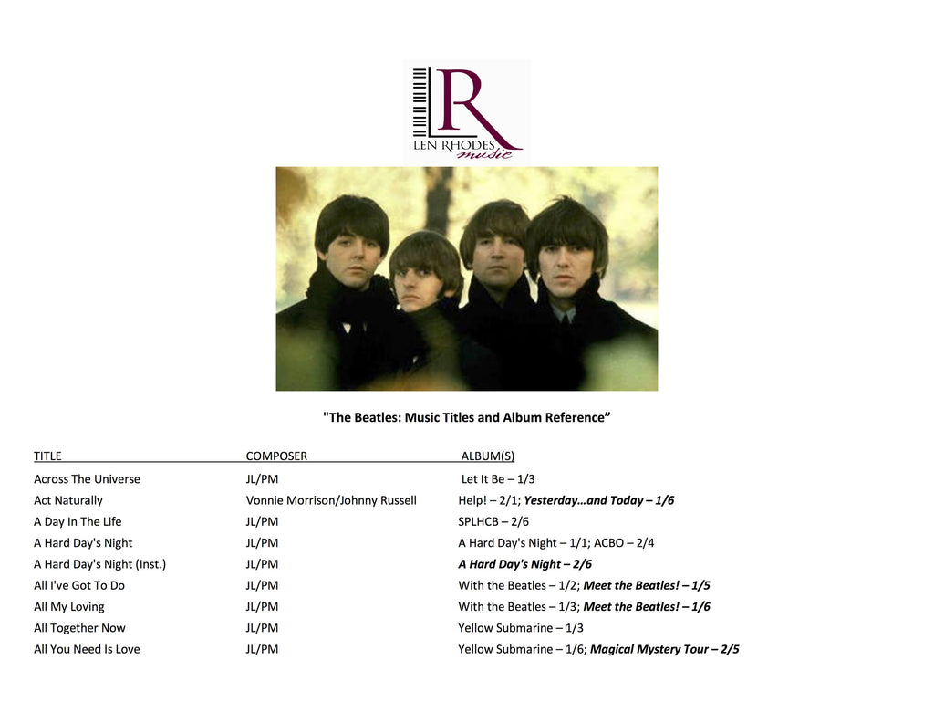 The Beatles Song Titles And Albums Len Rhodes Music Inc