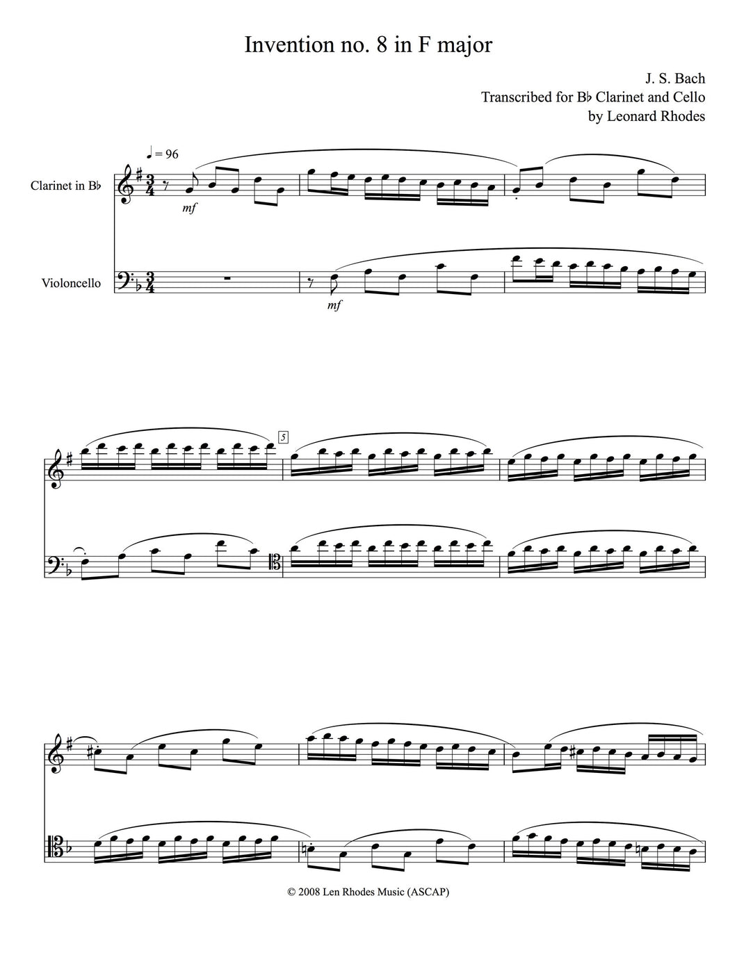 Bach - Two-part Invention no. 8, transcribed for Bb Clarinet and Cello