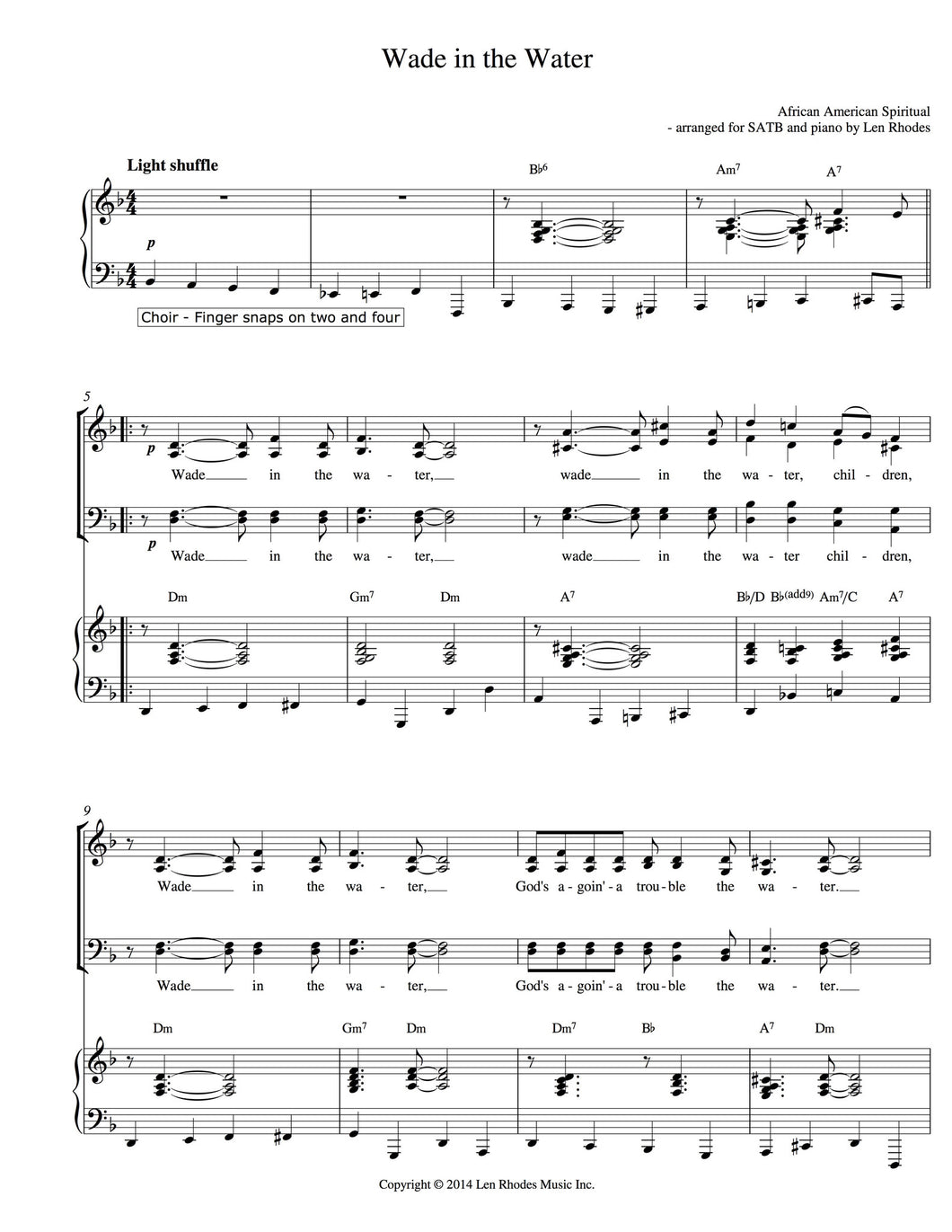 Wade In The Water - arranged for SATB Choir and Piano